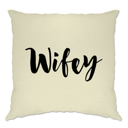 Novelty Couples Cushion Cover Wifey Unmarried Slogan