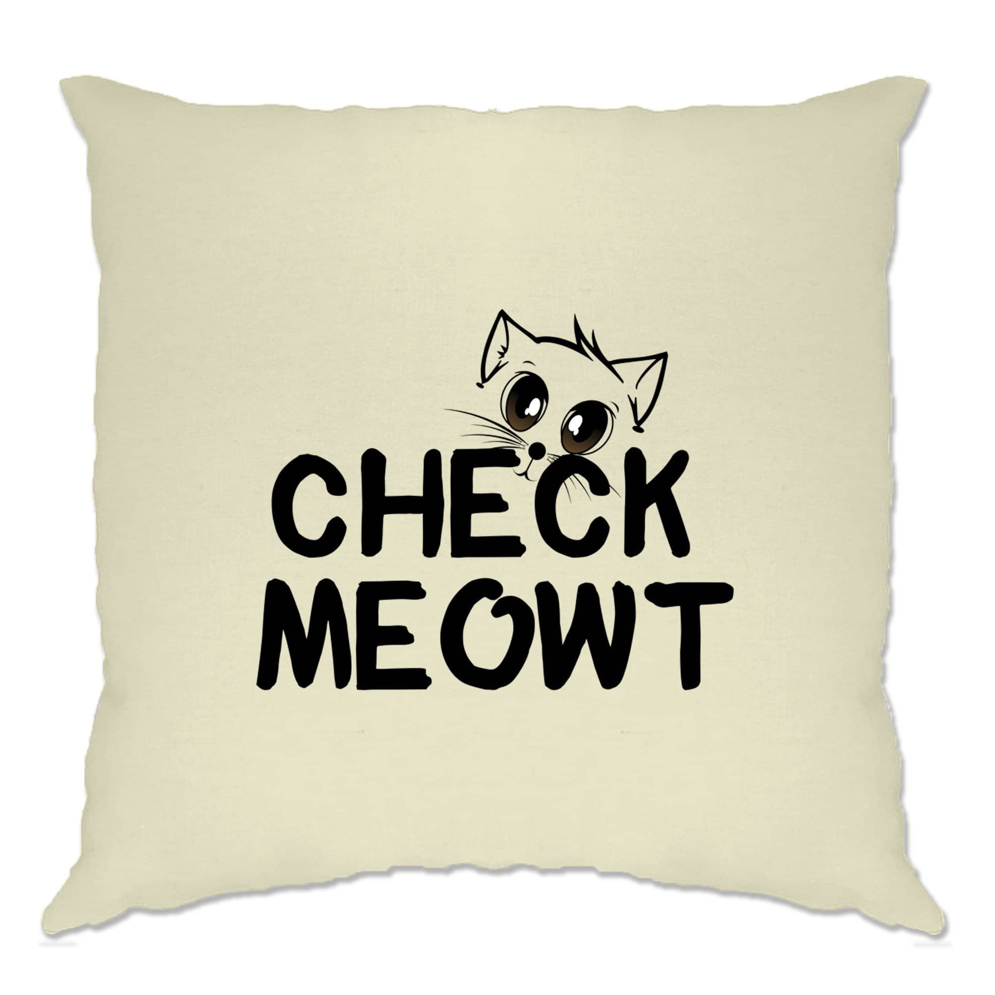 Novelty Pet Cushion Cover Check Meowt Cat Slogan