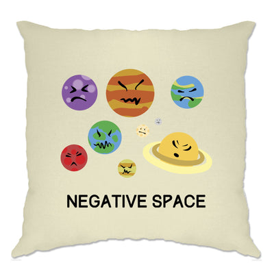 Solar System Joke Cushion Cover Negative Space And Planets