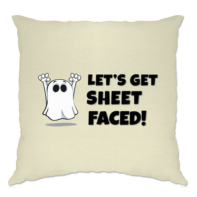 Novelty Halloween Cushion Cover Let's Get Sheet Faced