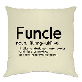 Novelty Cushion Cover Funcle Fun Uncle Pun Definition Joke