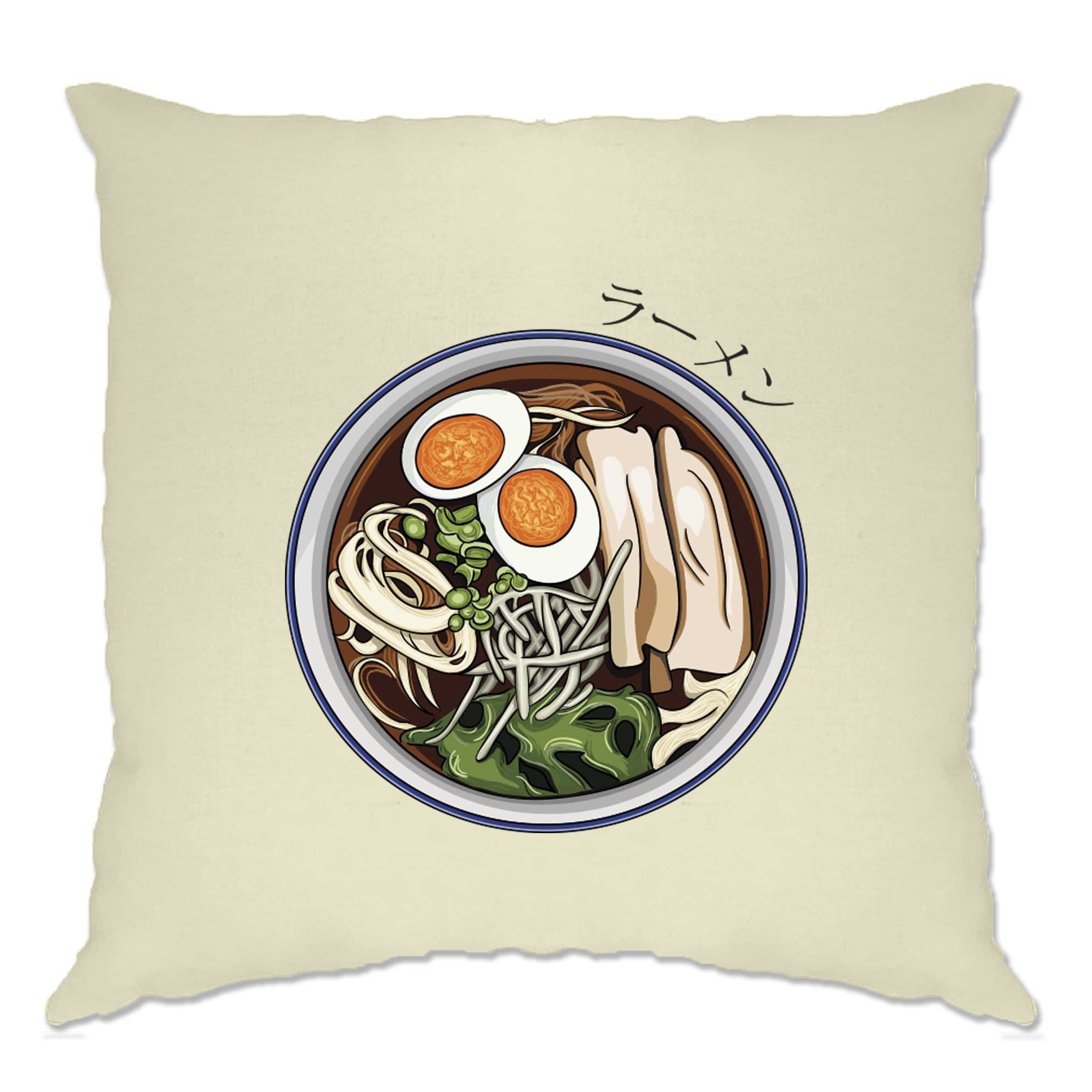 Ethnic Food Cushion Cover Ramen Noodles And Japanese Text