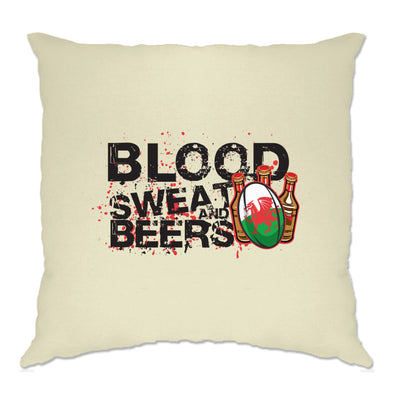 Wales Rugby Supporters Cushion Cover Blood, Sweat And Beers