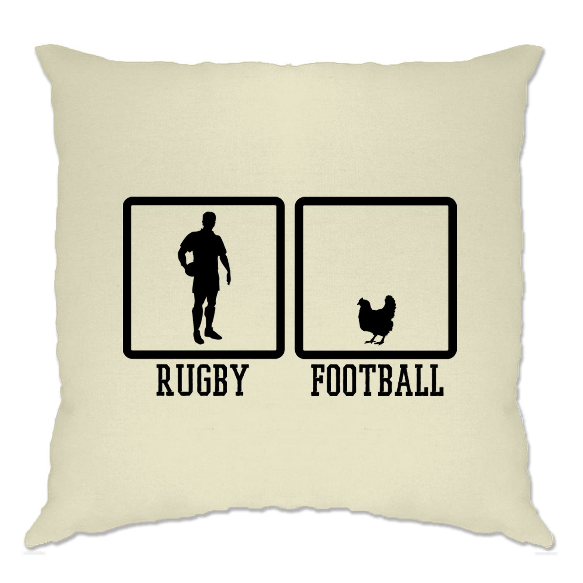Joke Sports Cushion Cover Rugby Vs Football Chicken Novelty