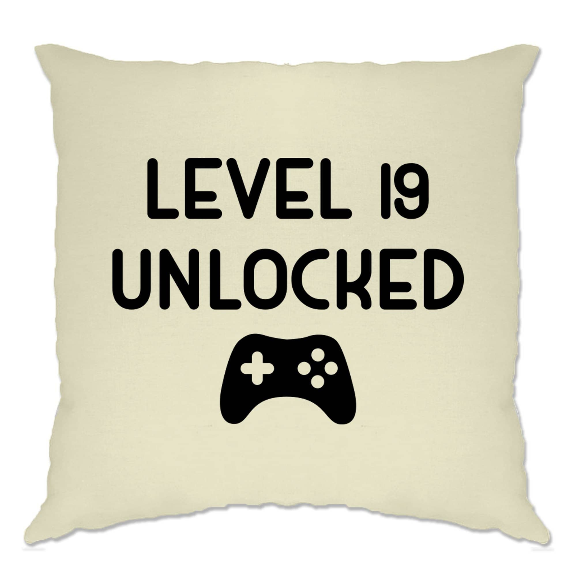 19th Birthday Gamer Cushion Cover Level 19 Unlocked Slogan