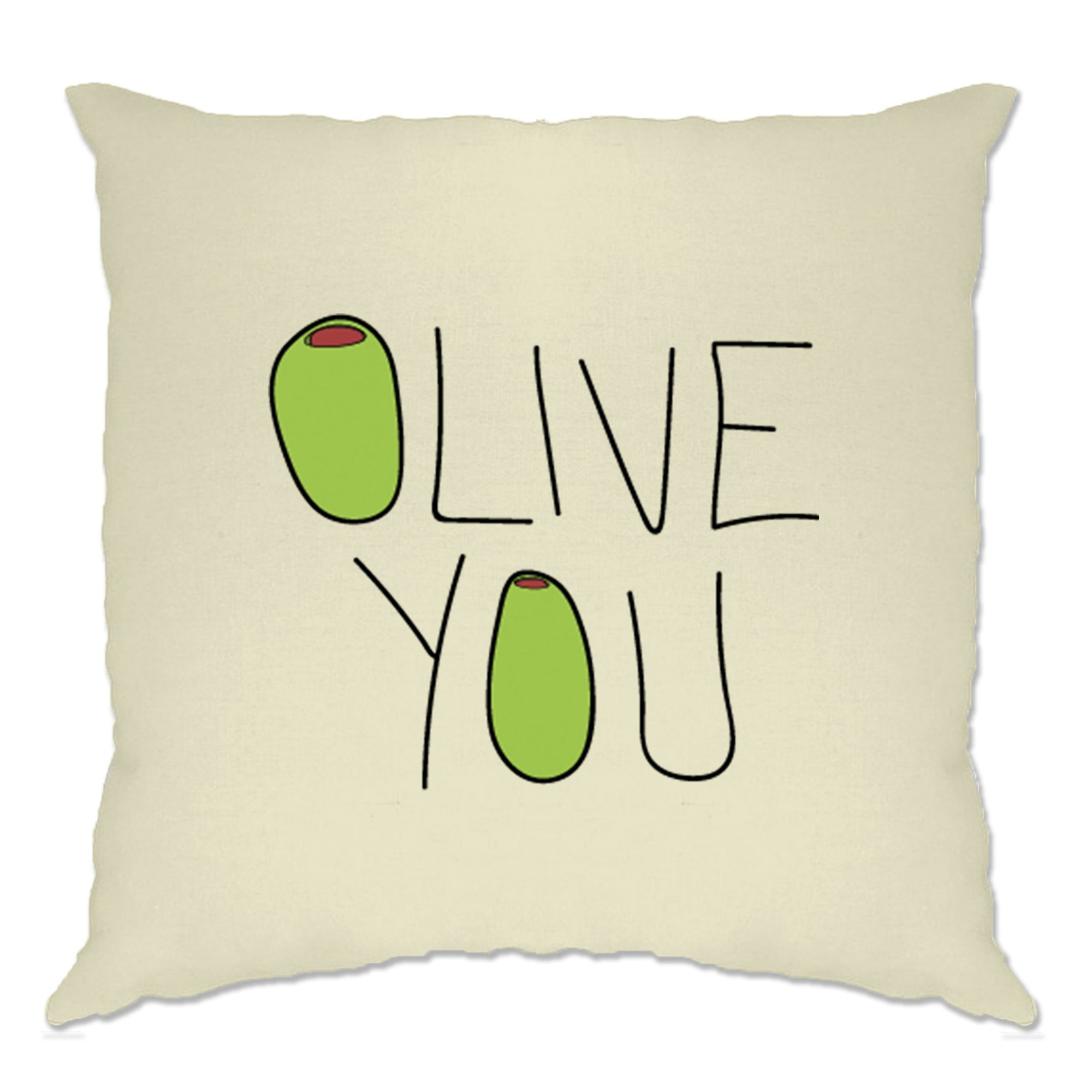 Valentines Day Cushion Cover Olive You Slogan