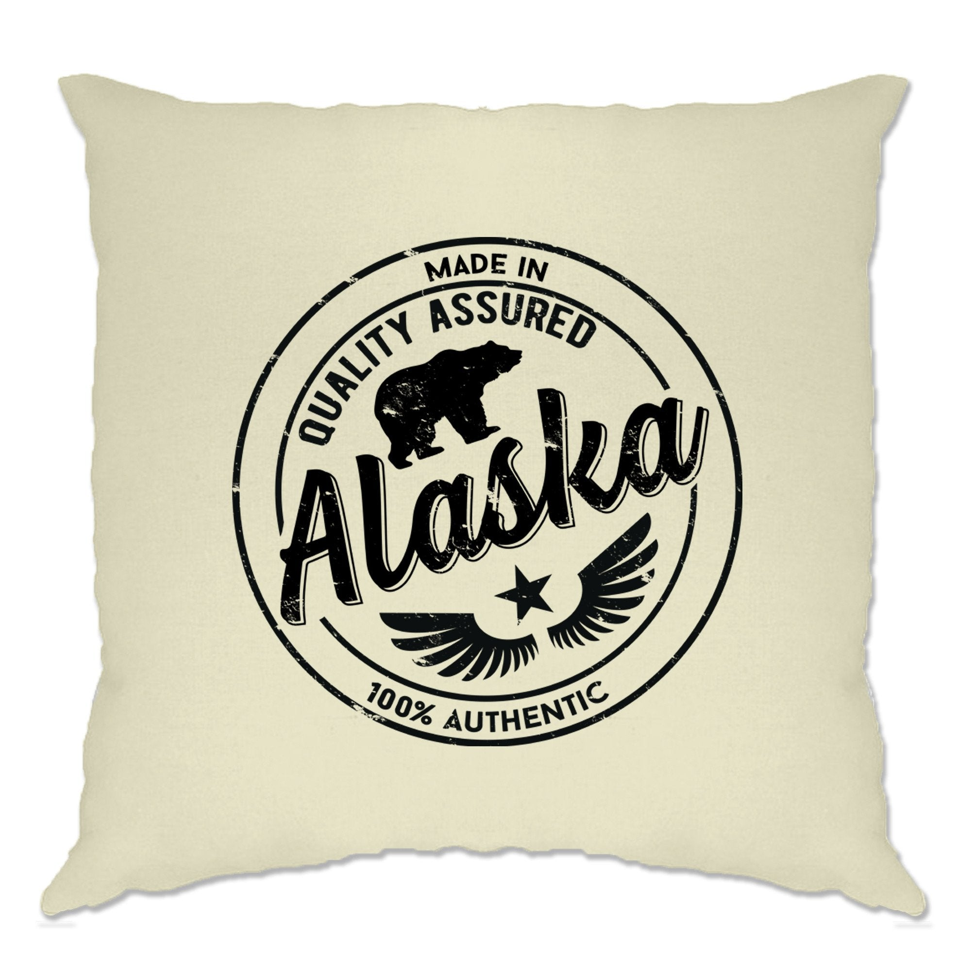 Hometown Pride Cushion Cover Made in Alaska Stamp