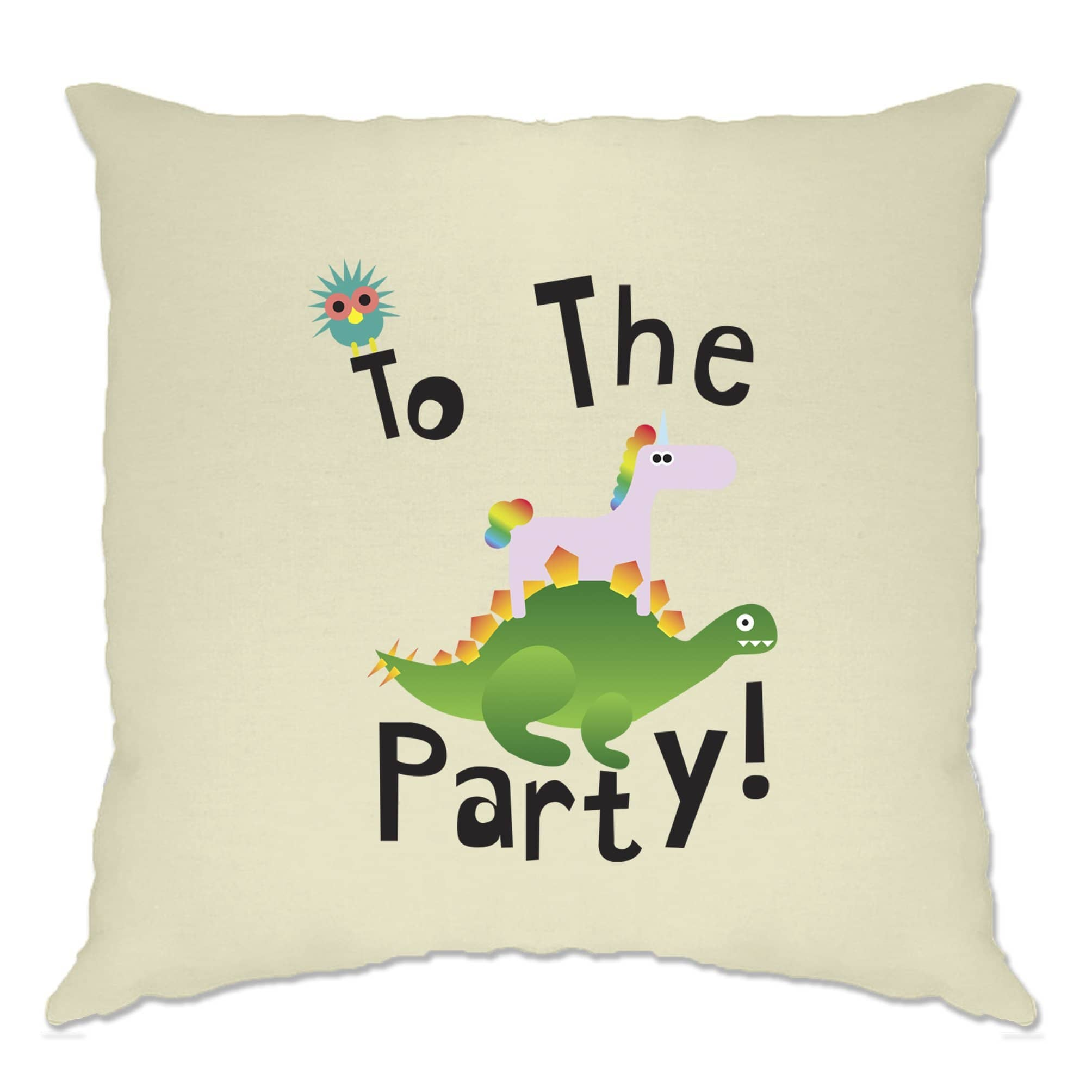 Novelty Birthday Cushion Cover To The Party Stegosaurus
