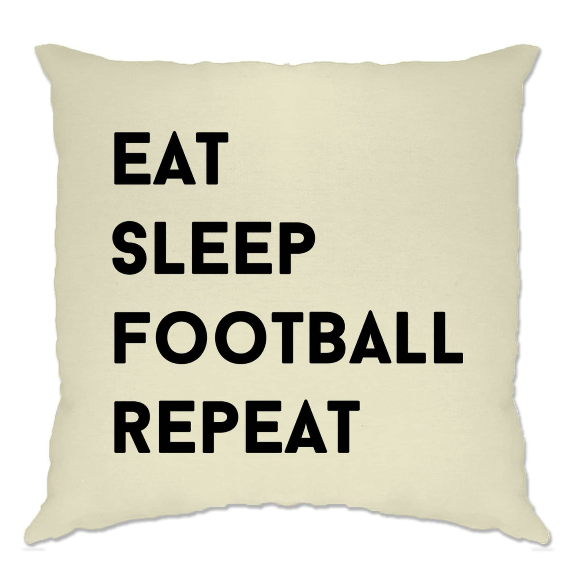 Sports Cushion Cover Eat, Sleep, Football, Repeat Slogan