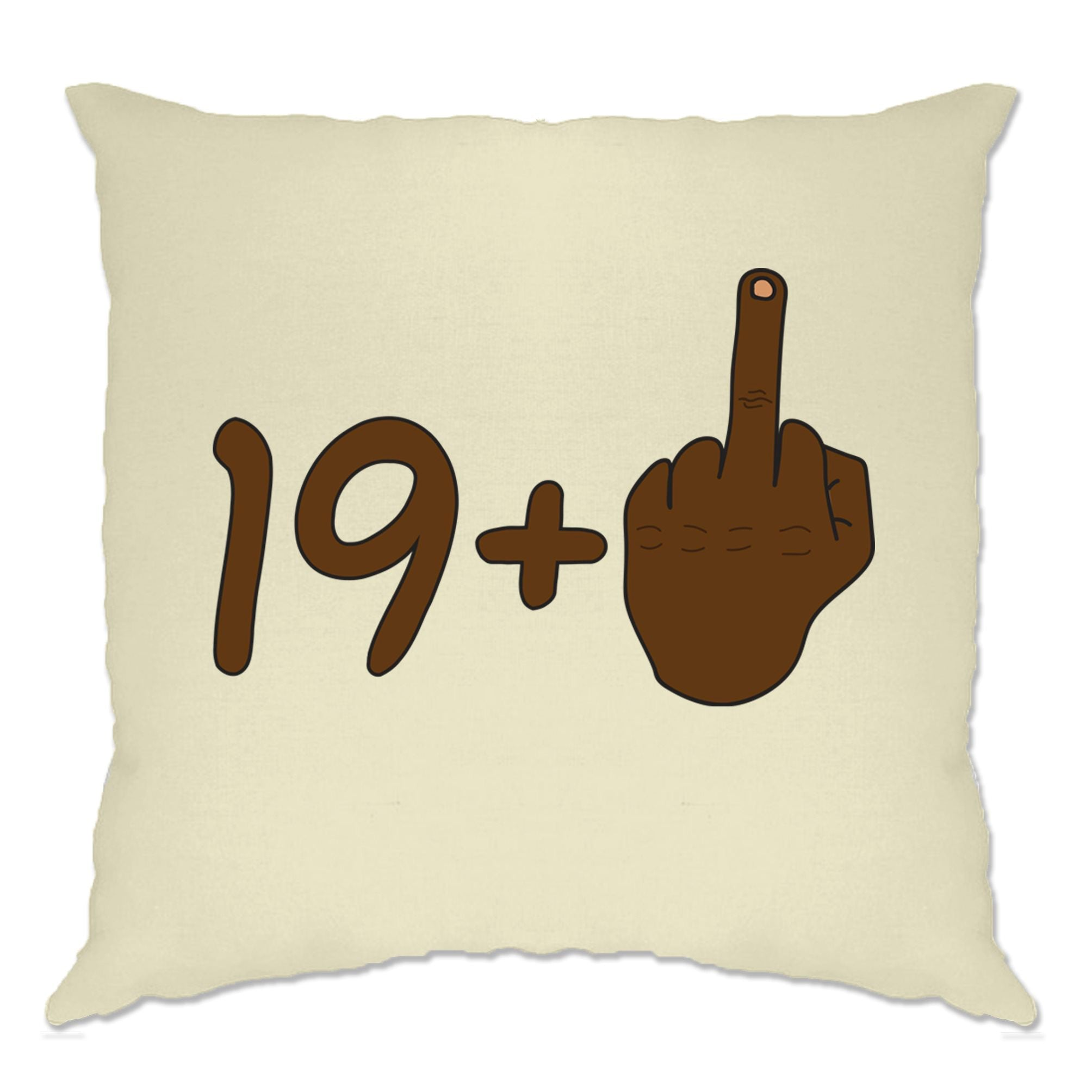 Rude 20th Birthday Cushion Cover Black Middle Finger