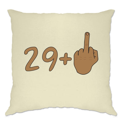 Rude 30th Birthday Cushion Cover Tanned Middle Finger