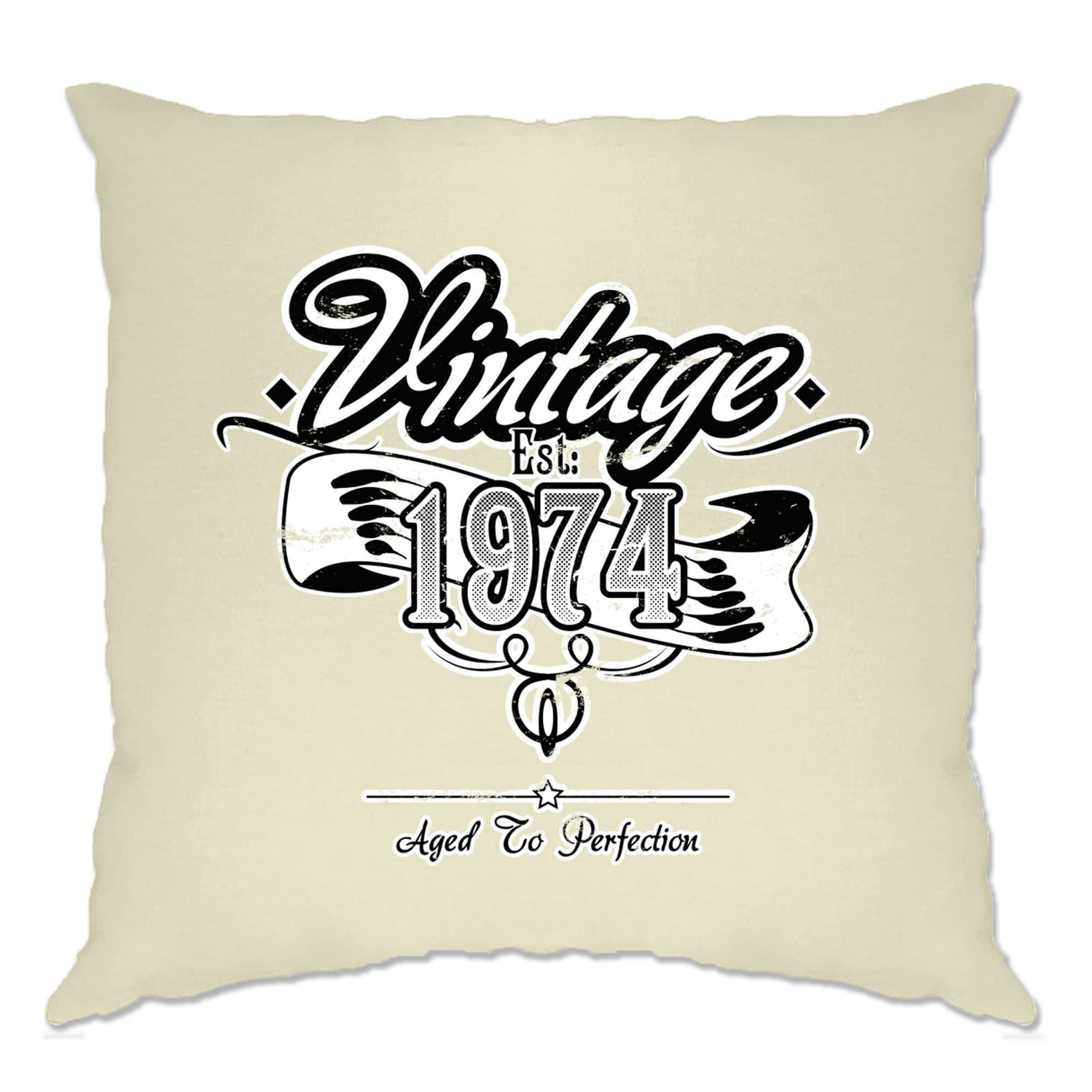 Birthday Cushion Cover Vintage Est 1974 Aged To Perfection