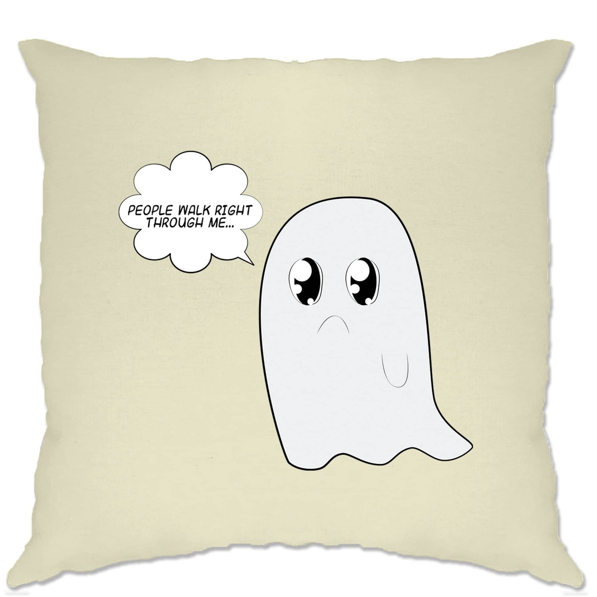 Cute Ghost Cushion Cover People Walk Right Through Me Joke