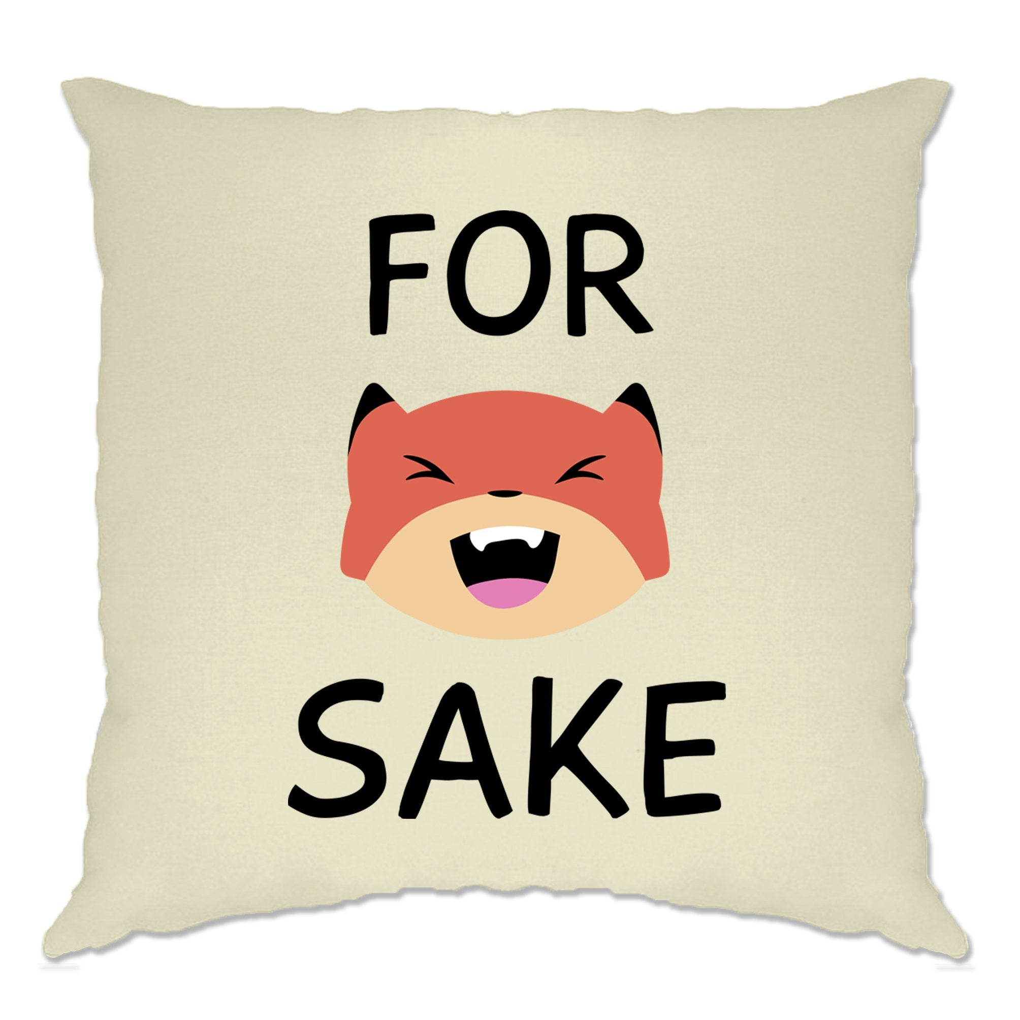 Novelty Animal Pun Cushion Cover For Fox Sake Joke