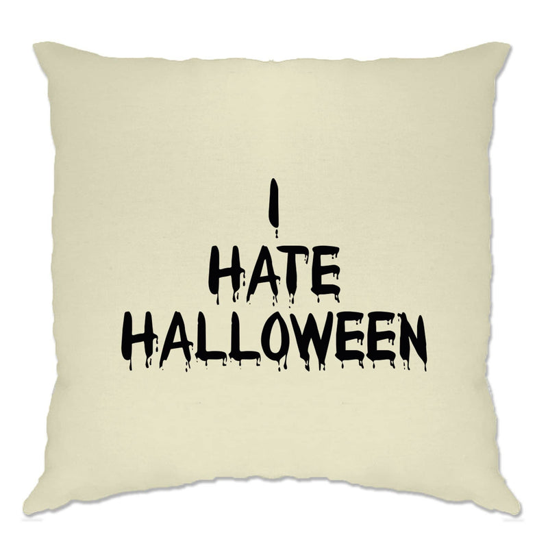 Anti-Holiday Cushion Cover I Hate Halloween Slogan
