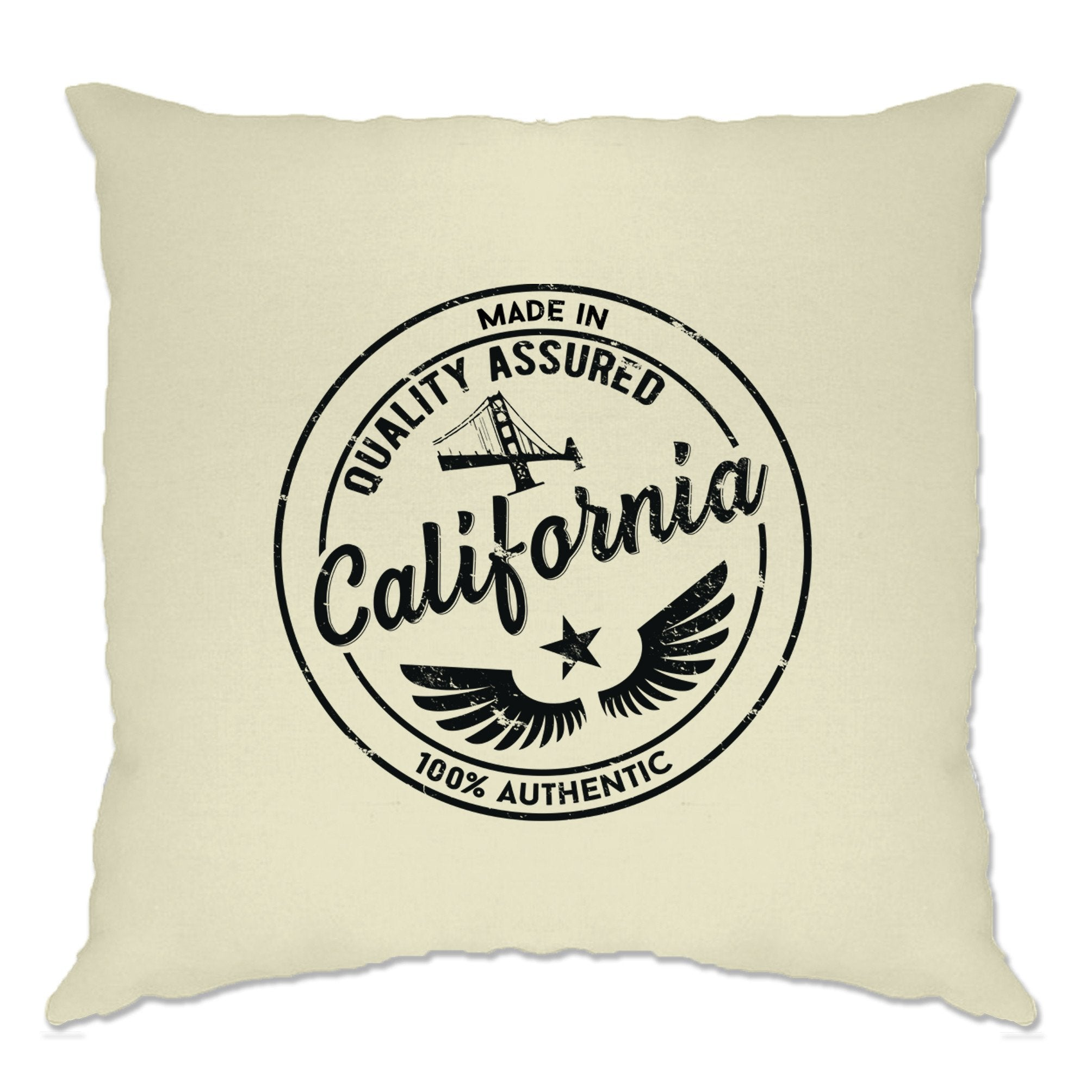 Hometown Pride Cushion Cover Made in California Stamp