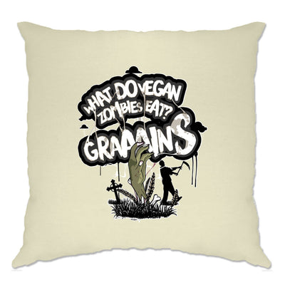 Funny Cushion Cover What Do Vegan Zombies Eat? Grains!