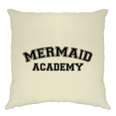 Novelty Mythical Cushion Cover Mermaid Academy Slogan