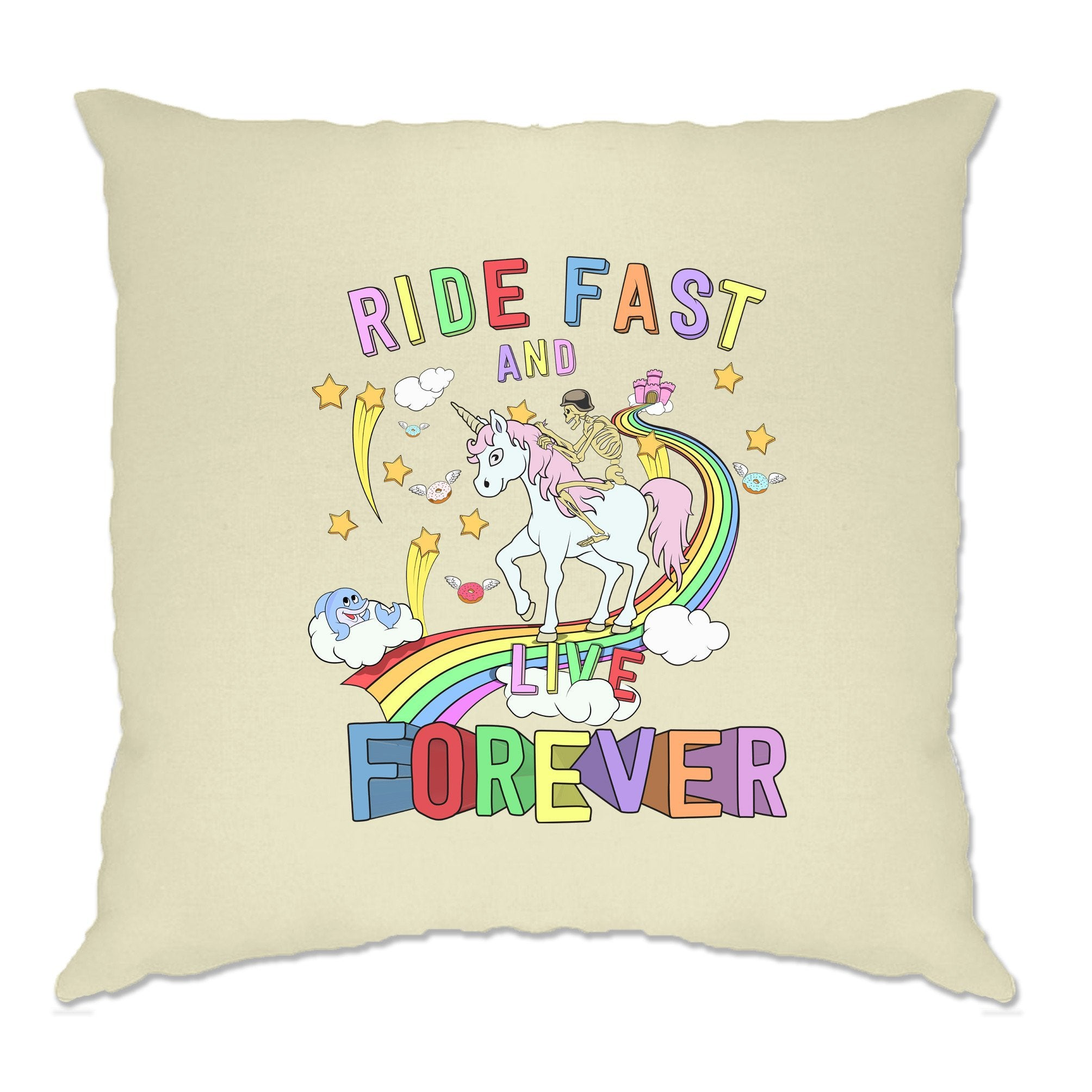 Unicorn Cushion Cover Ride Fast And Live Forever Skeleton