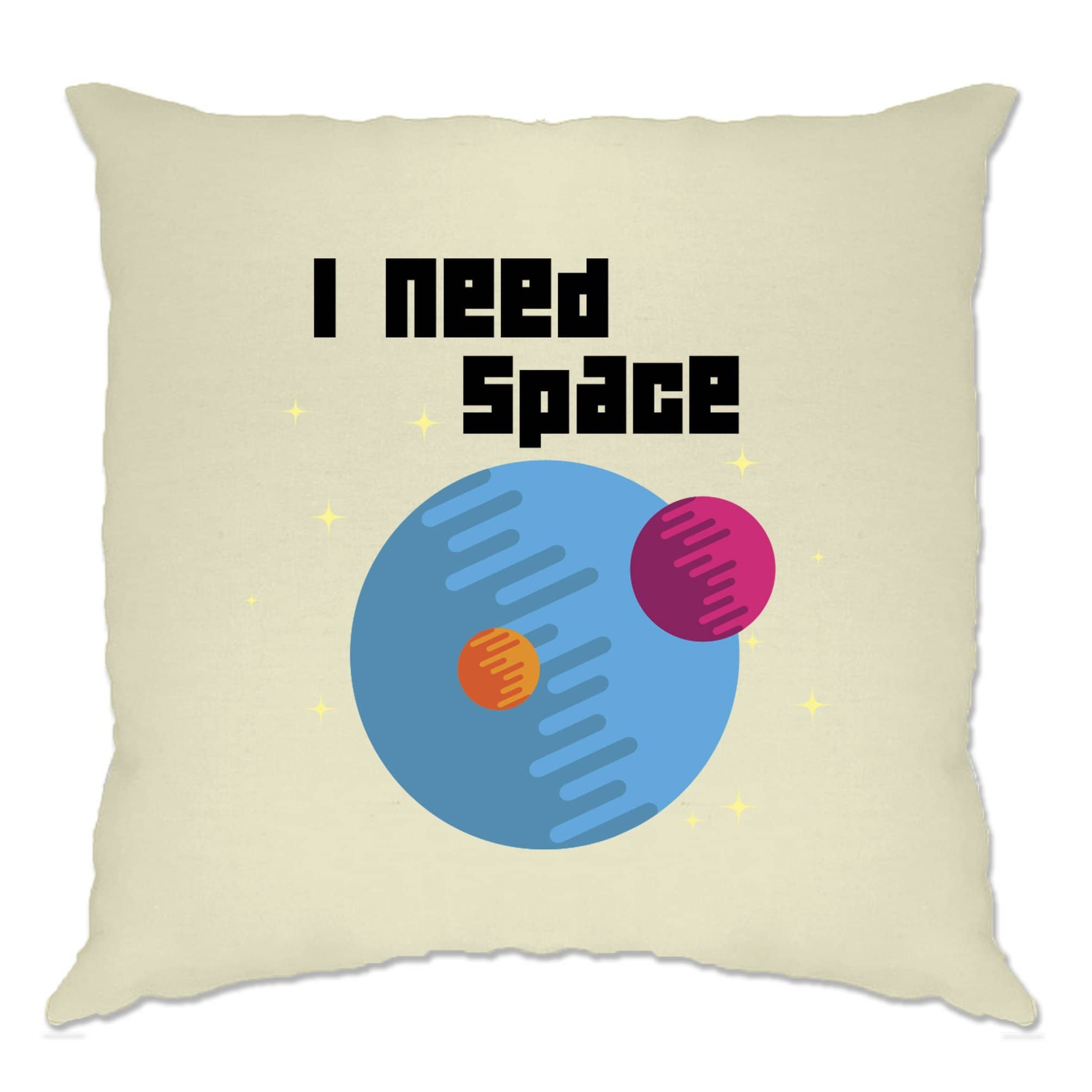 Novelty Nerd Cushion Cover I Need Space Planets Slogan