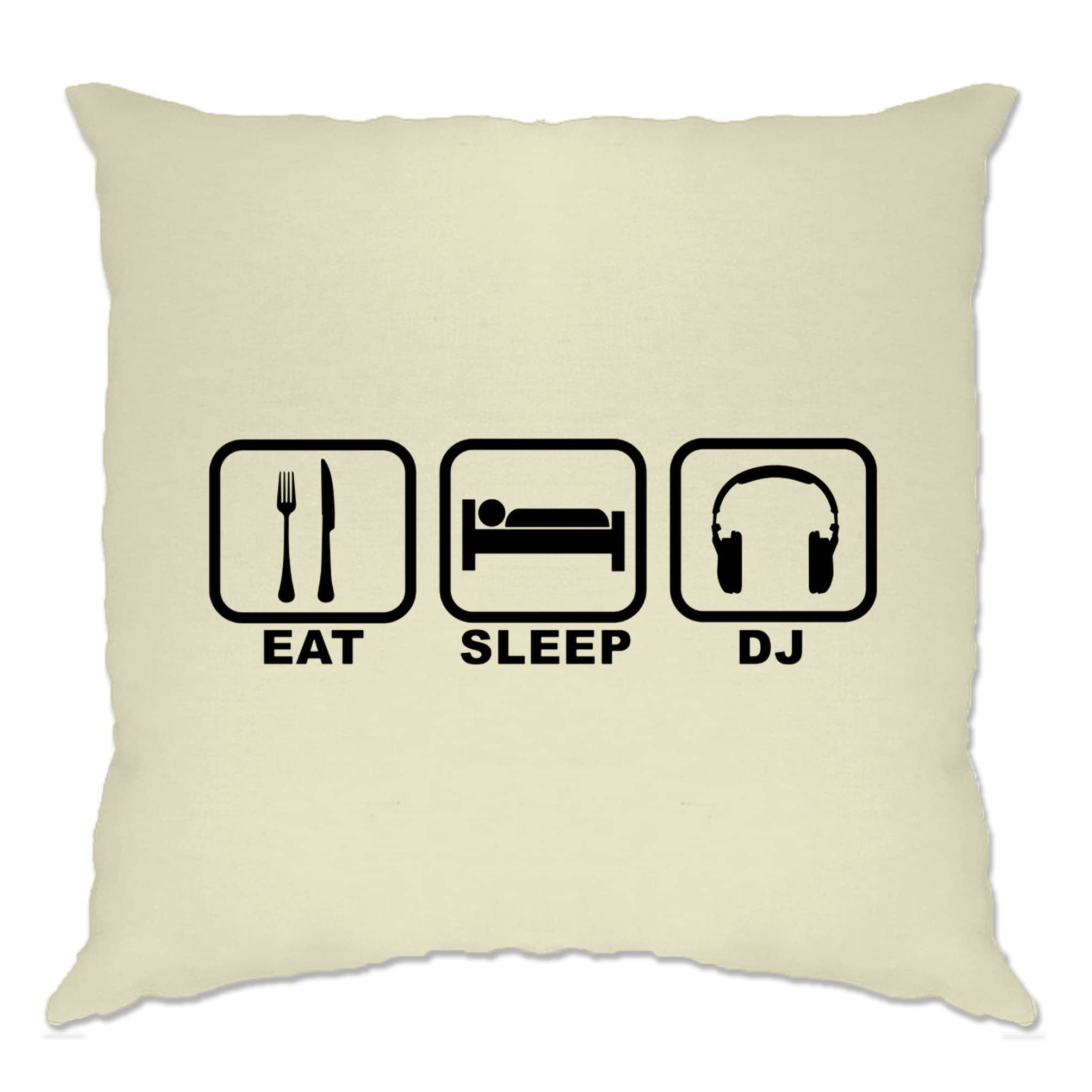Novelty Cushion Cover Eat, Sleep, Then DJ Symbols