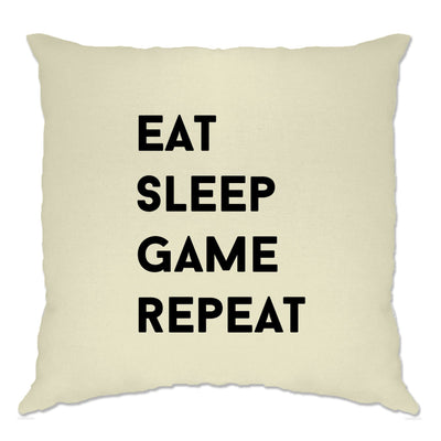 Nerd Cushion Cover Eat, Sleep, Game, Repeat Slogan