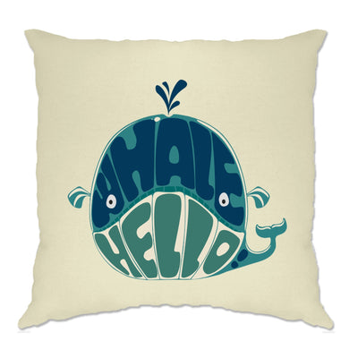 Novelty Cushion Cover Whale Hello Sea Life Pun