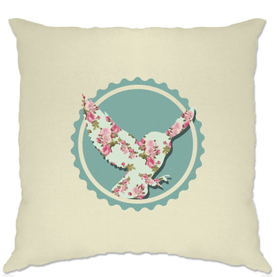 Vintage Logo Cushion Cover Floral Patterned Owl Badge