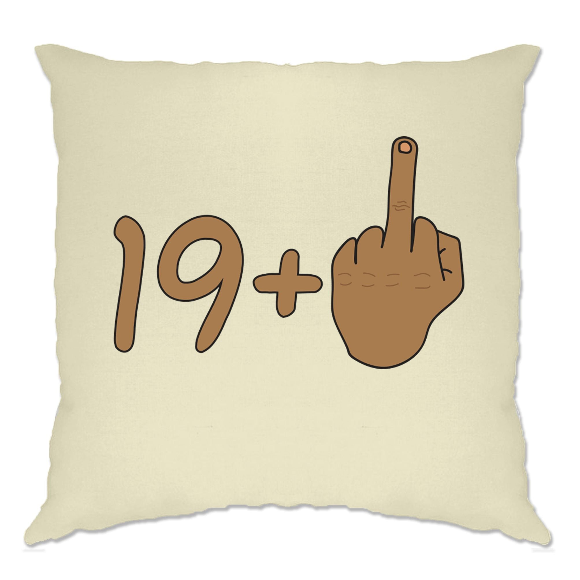 Rude 20th Birthday Cushion Cover Tanned Middle Finger