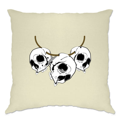 Voodoo Cushion Cover Three Skull Necklace Tribal Art