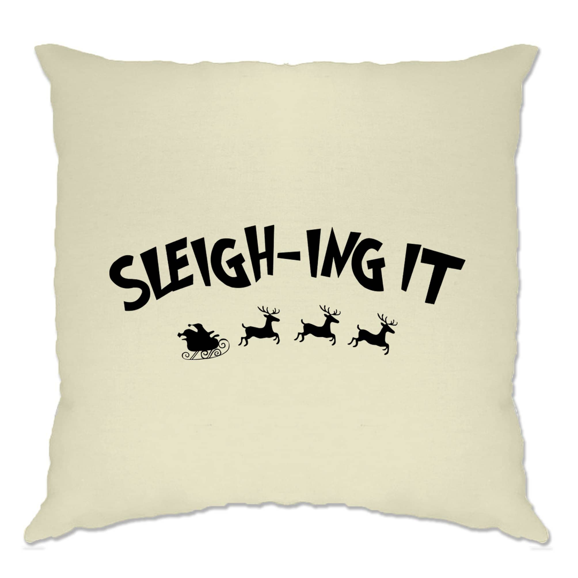 Joke Christmas Cushion Cover Sleigh-ing Slaying It Pun