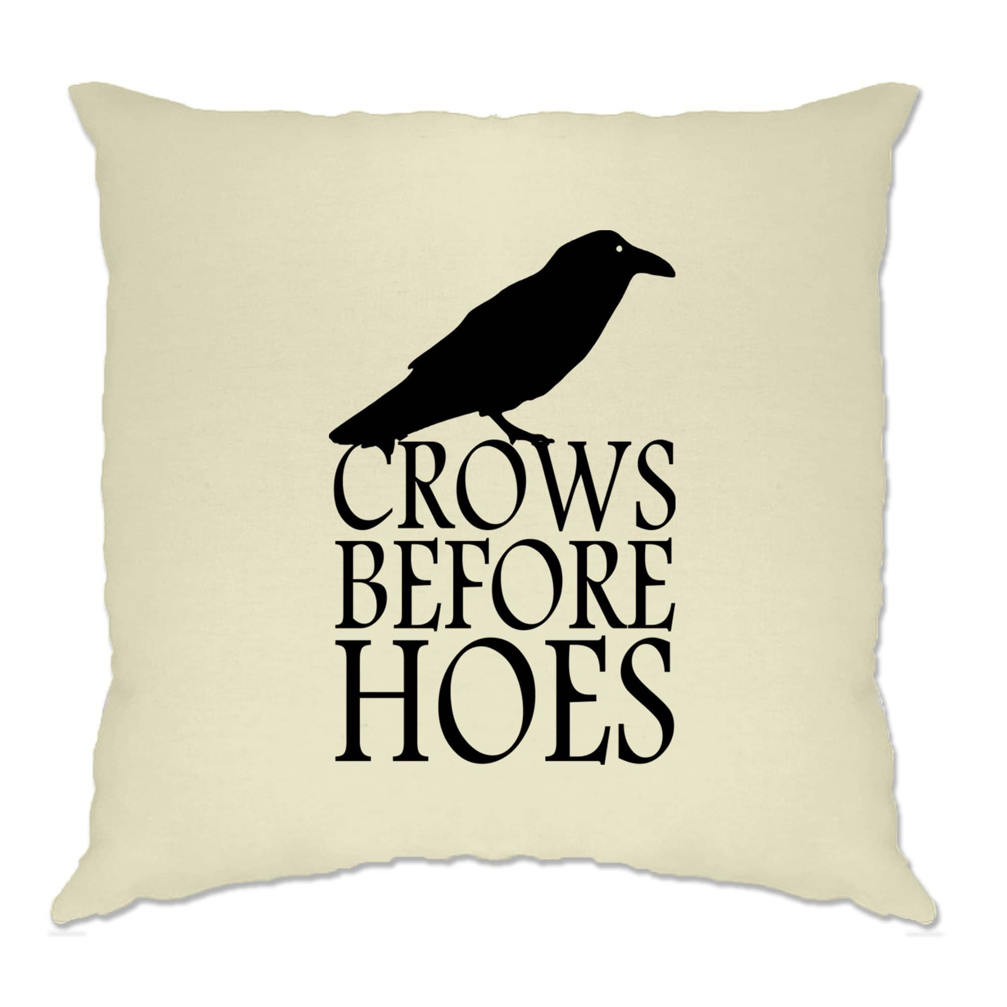 TV Parody Cushion Cover Crows Before Hoes Slogan
