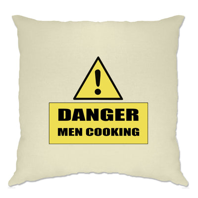 Novelty Barbecue Cushion Cover Danger! Men Cooking Sign