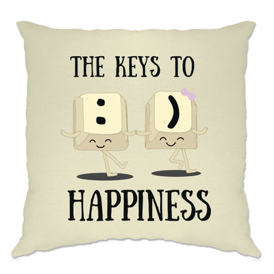 Novelty Computer Cushion Cover The Keys To Happiness :) Pun