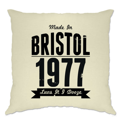 Birthday Cushion Cover Made In Bristol, England 1977 & Motto