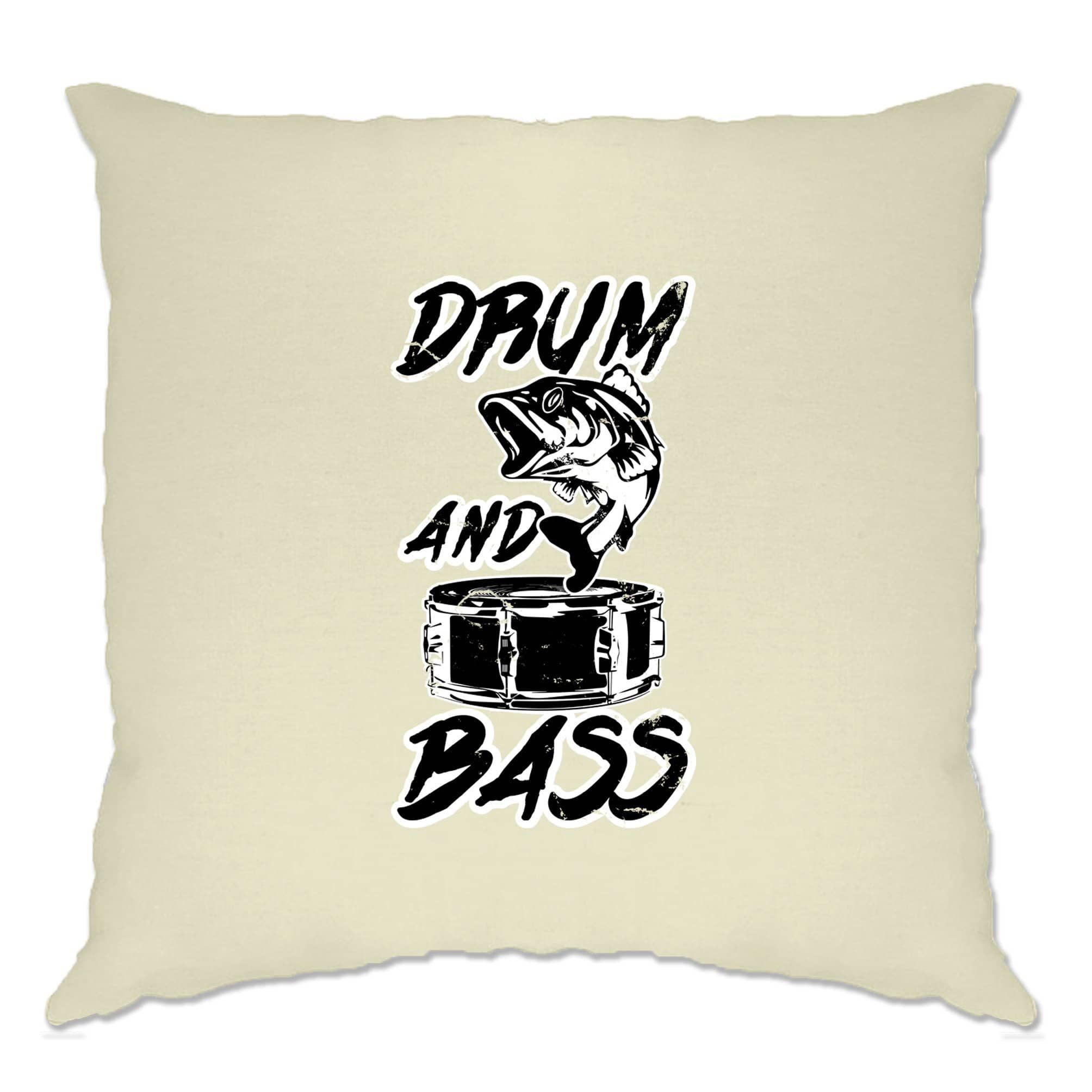 Novelty Music Cushion Cover Drum And Bass Fish Slogan