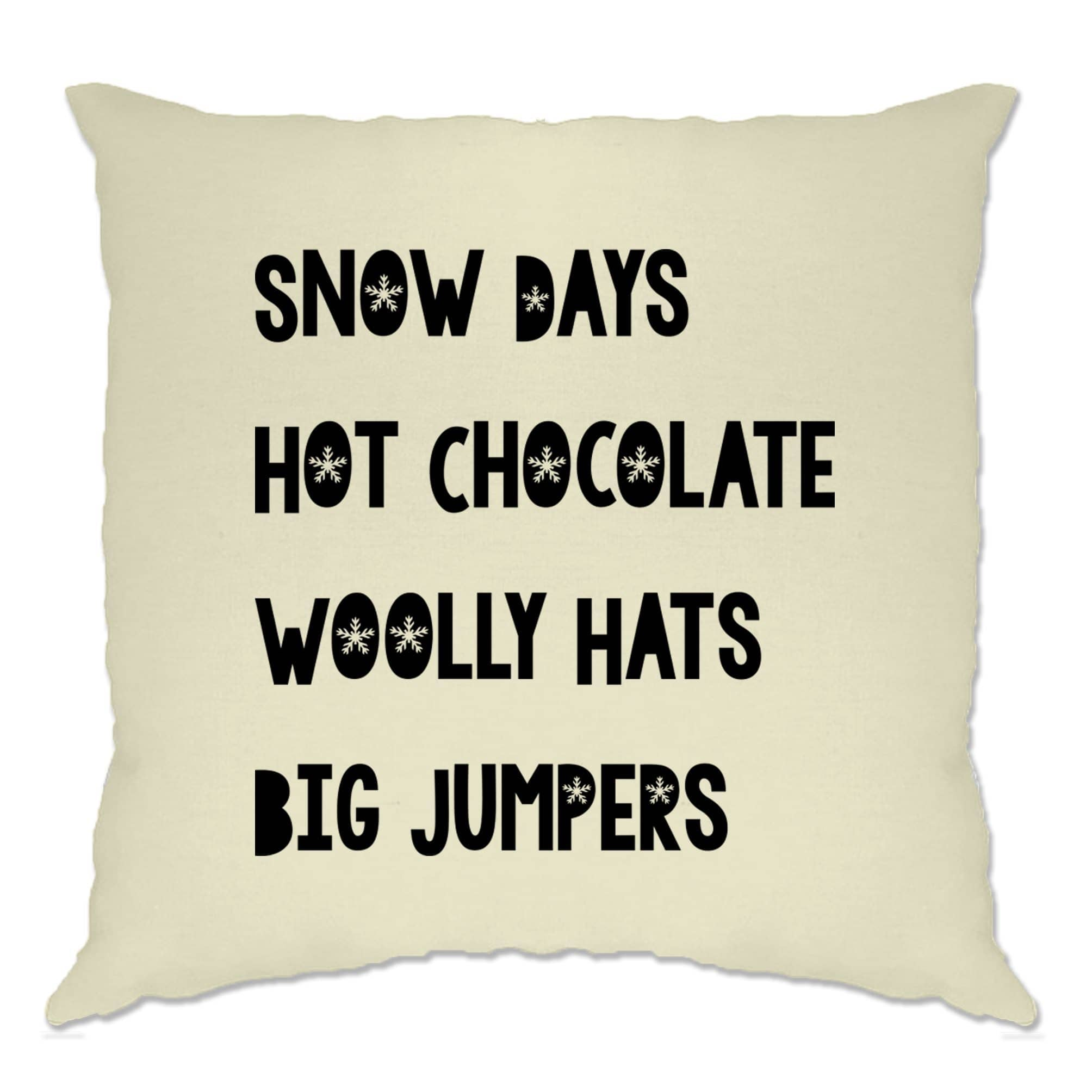 Christmas Cushion Cover Snow Days & Hot Chocolate Xmas Perks