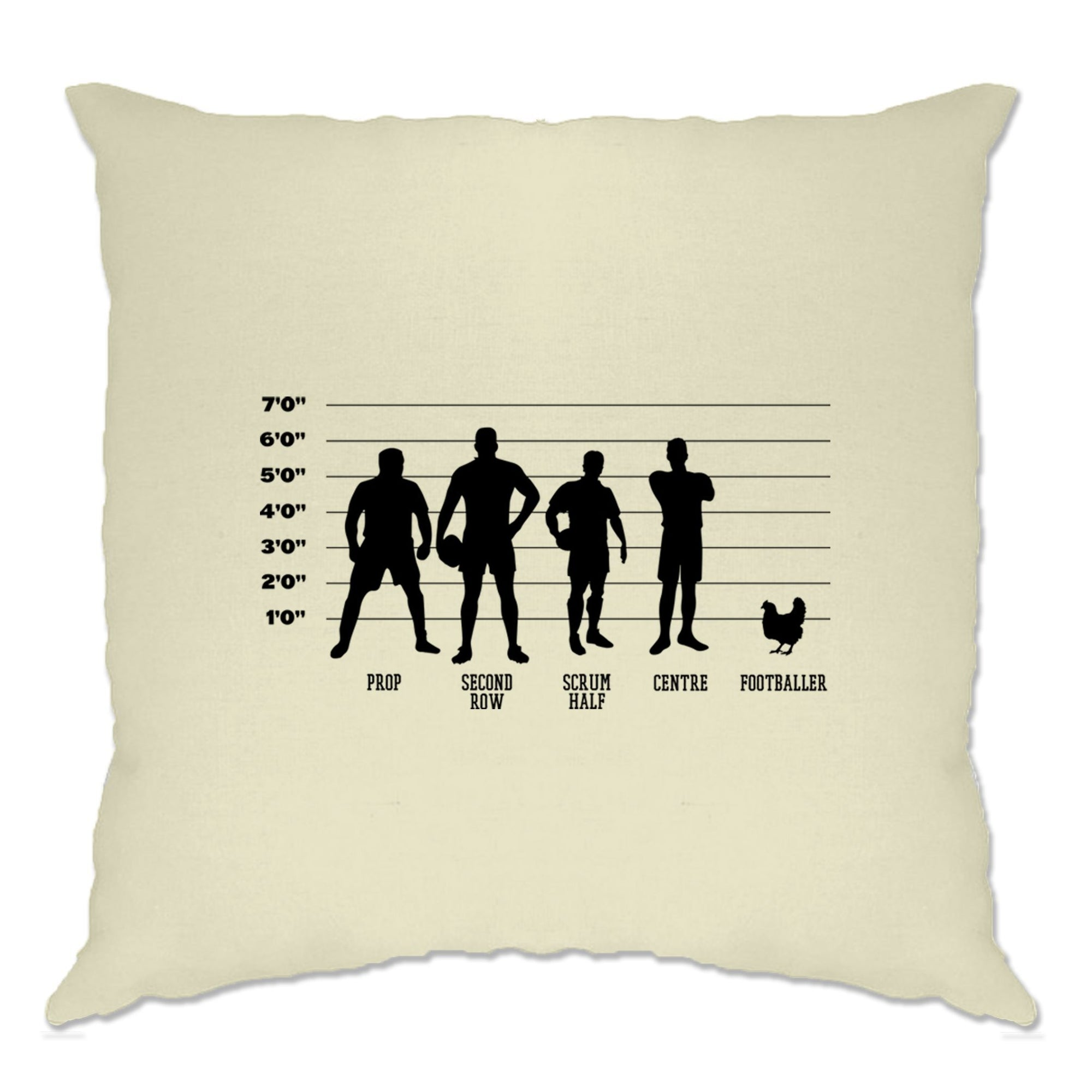 Joke Sports Cushion Cover Rugby Vs Football Chicken Lineup