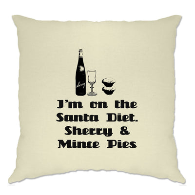 Novelty Christmas Cushion Cover I'm On The Santa Diet Slogan