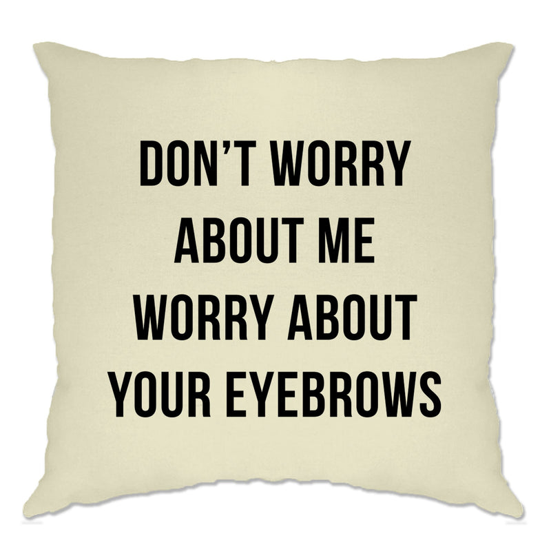 Funny Sassy Cushion Cover Worry About Your Eyebrows Joke