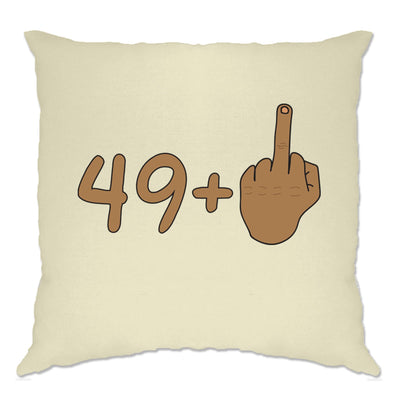 Rude 50th Birthday Cushion Cover Tanned Middle Finger