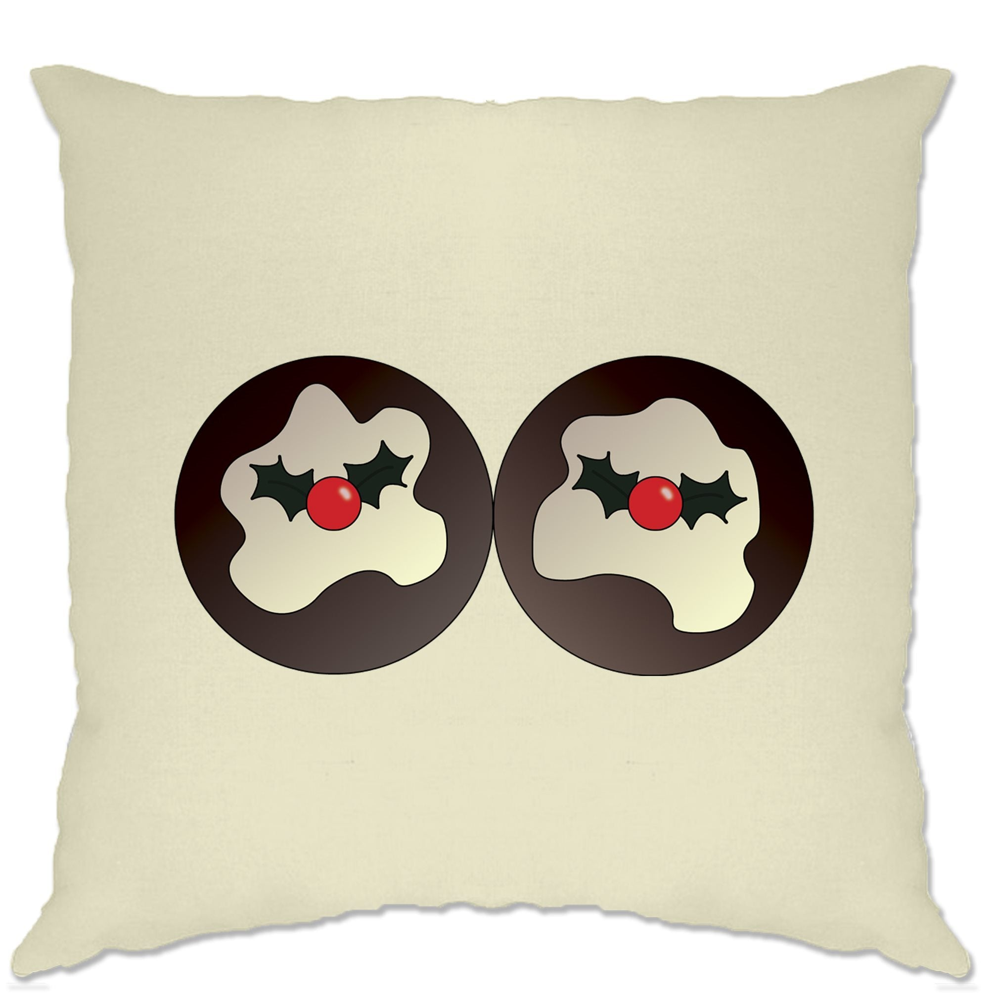Rude Xmas Cushion Cover Christmas Pudding Breasts