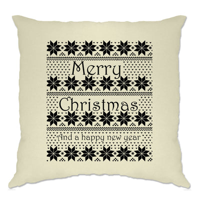 Merry Christmas Cushion Cover Xmas Ugly Sweater Pattern