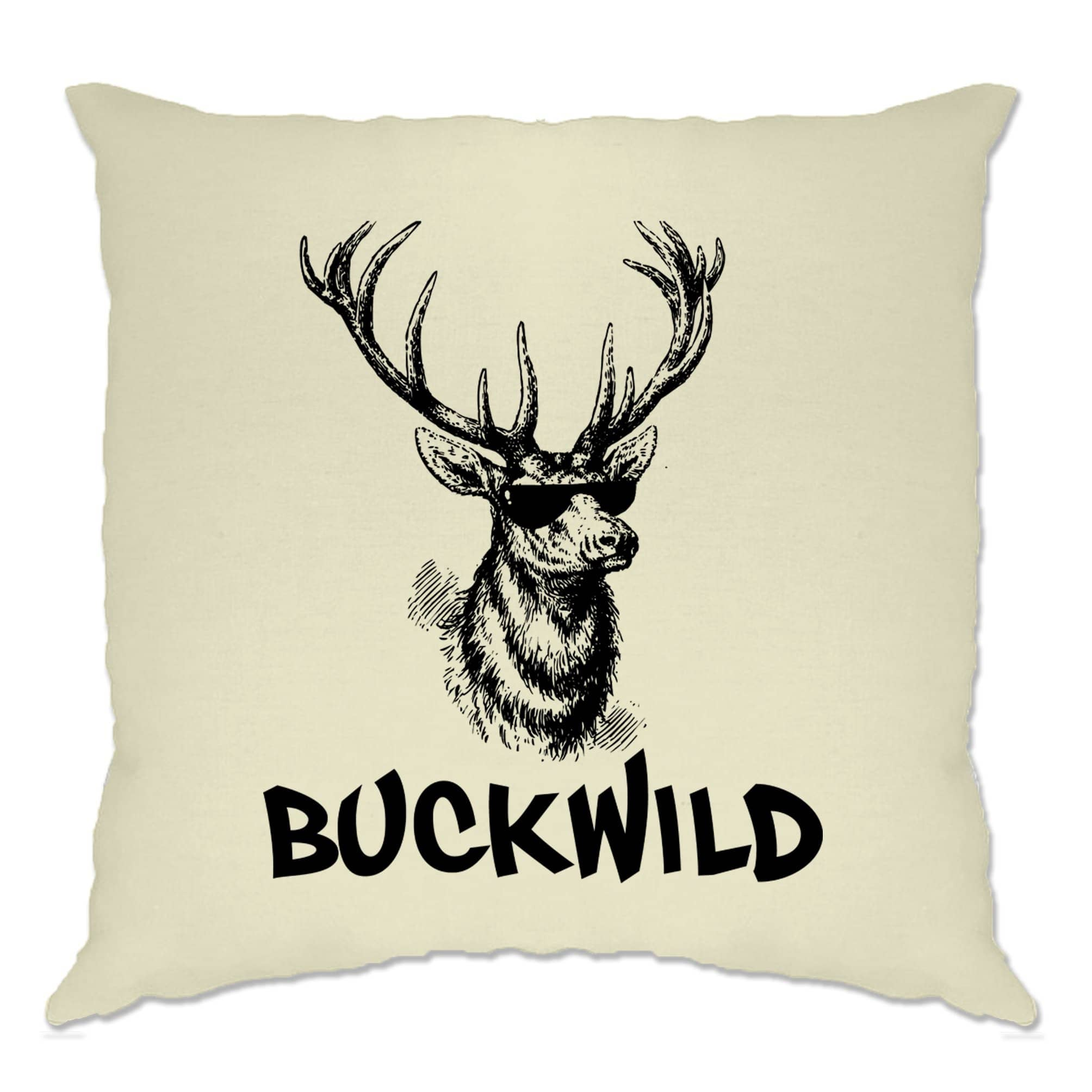 Novelty Christmas Cushion Cover Buckwild Cool Reindeer