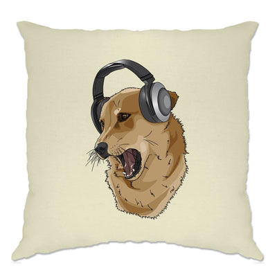 Cute Music Cushion Cover Shibe Dog Wearing Headphones