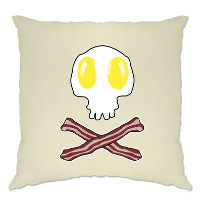 Breakfast Cushion Cover Bacon And Egg Skull & Crossbones