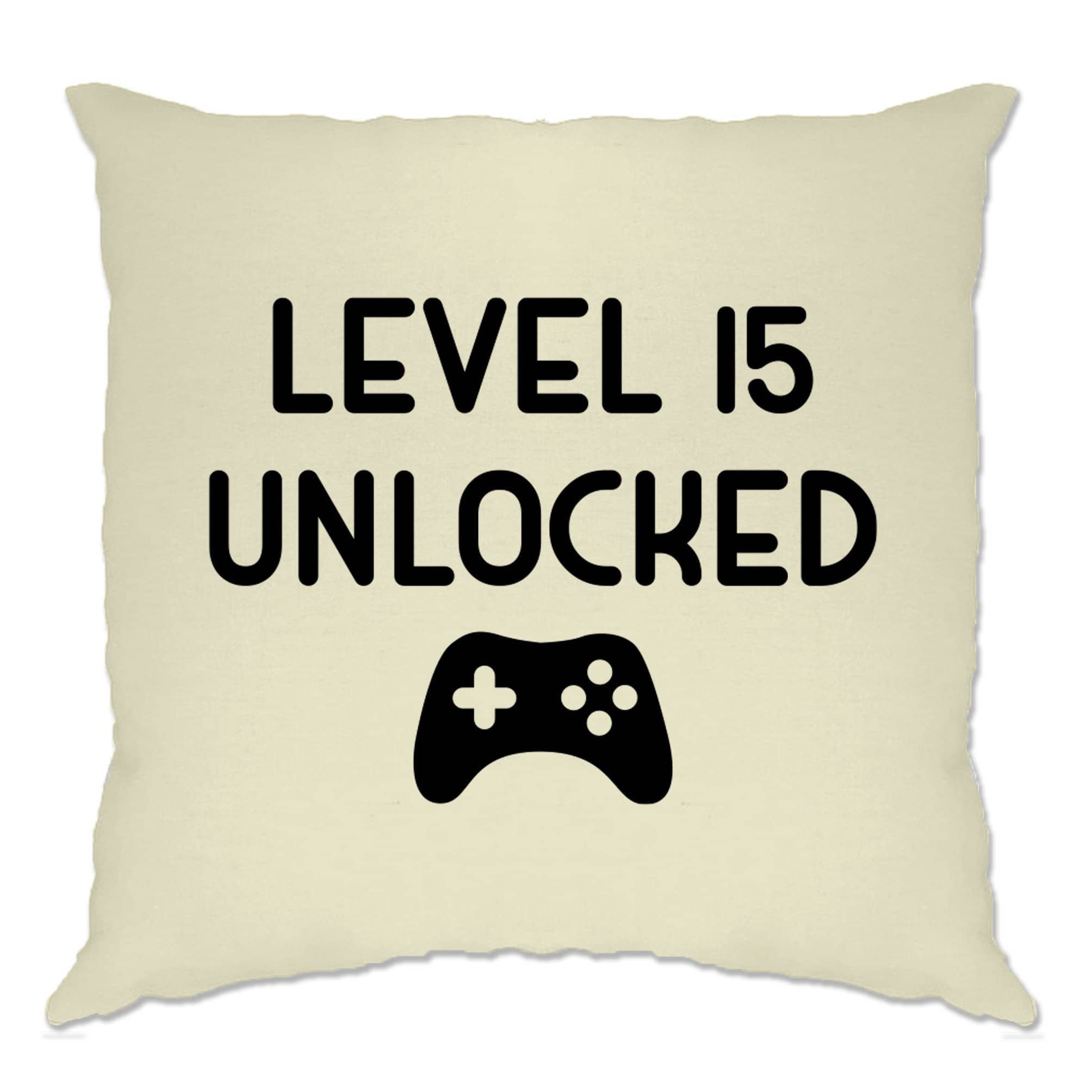 15th Birthday Gamer Cushion Cover Level 15 Unlocked Slogan