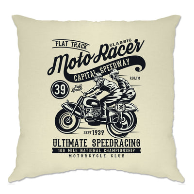 Classic Moto Racer Bikers Cushion - Natural Finish
