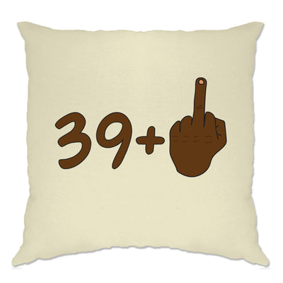 Rude 40th Birthday Cushion Cover Black Middle Finger