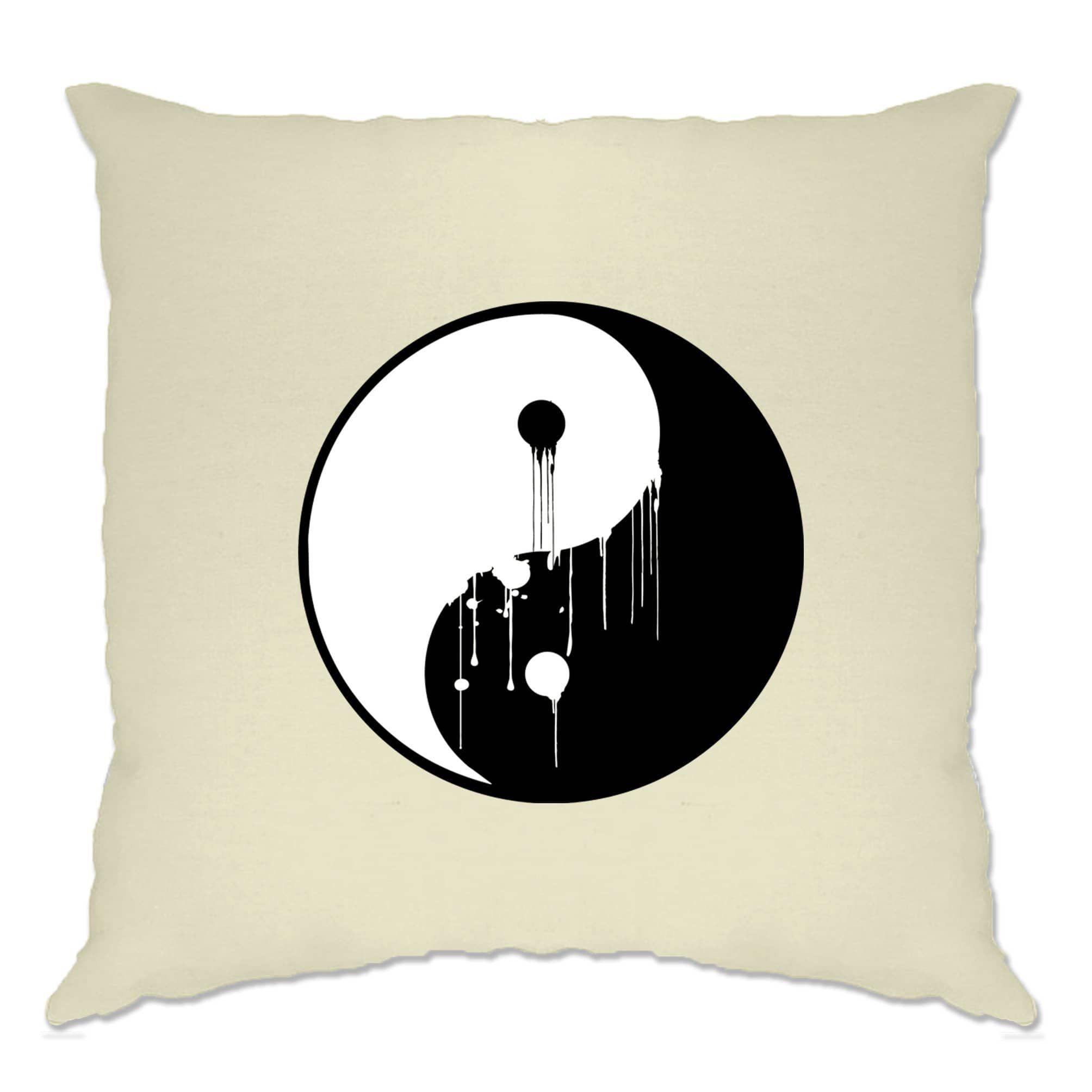Art Cushion Cover Painted Dripping Ying Yang Balance Symbol